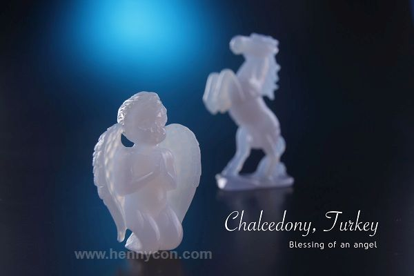 blue chalcedony carving